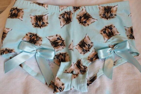 pastel pjs pajamas cats kitty pastel goth, emo, gothic, fashion, cool, kawaii pastel grunge blue underwear panties kawaii bows purr