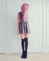 shoes,knee high,dress,grey,skater,cute,socks,grunge,jeans,grey dress