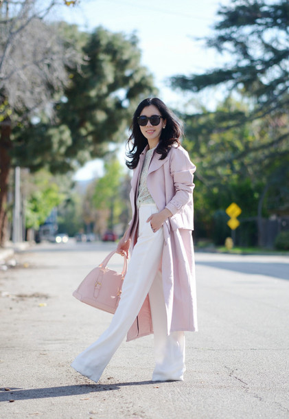 hallie daily blogger flare pants white pants pink coat pink bag