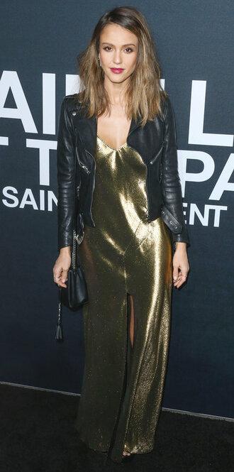 dress metallic jacket slit dress jessica alba