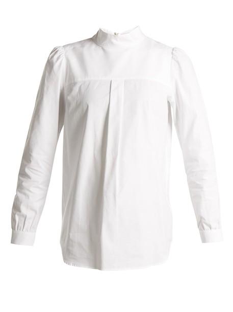 shirt high cotton white top