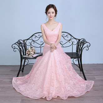 dress lace prom dress 2016 evening dress lace dress v neck pink fashion party dress formal dress wedding dress prom dress cheap formal party prom gown prom party dress wedding clothes bridal banquet dress special occasion dress engagement party dress