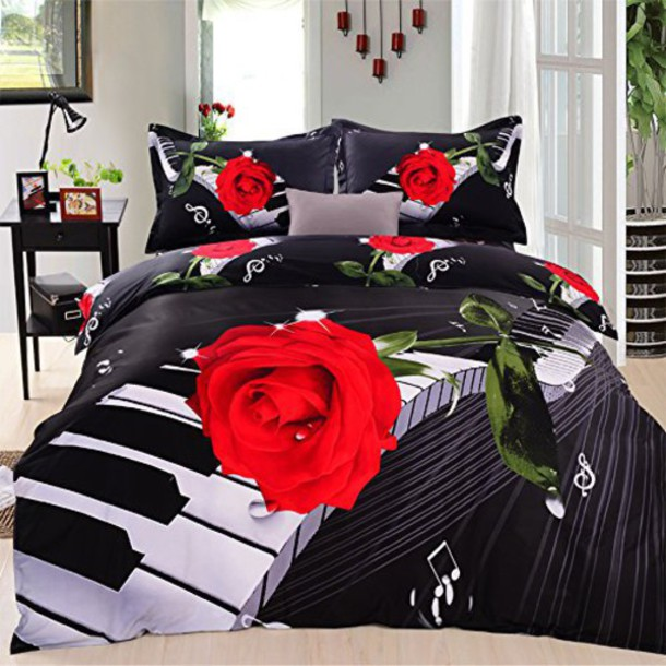 home accessory roses duvet roses comforter duvet beautiful bedding 3d bedding music piano. Black Bedroom Furniture Sets. Home Design Ideas