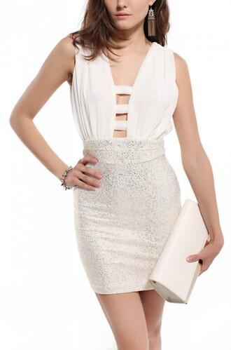 dress foil cut-out chiffon v neck dress plunge v neck empire waist