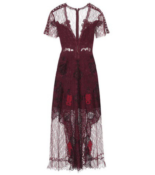 Jonathan Simkhai Lace midi dress in red