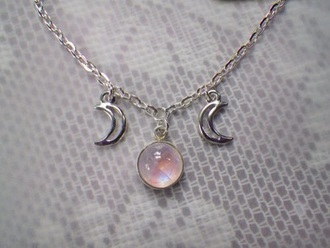 jewels neackless hipster jewelry moon pastel grunge hipster moon necklace stars light pink silver