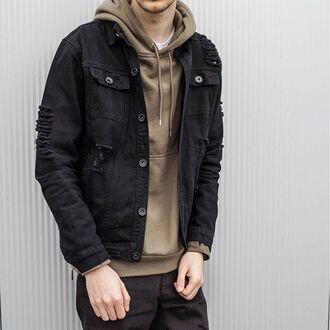 jacket maniere de voir denim black ripped fashion trendy style streetstyle tyga kanye west 36683