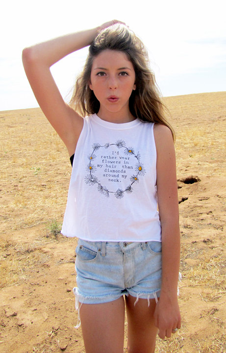 Flowers in my hair tshirt muscle shirt daisy chain by alwaysagain