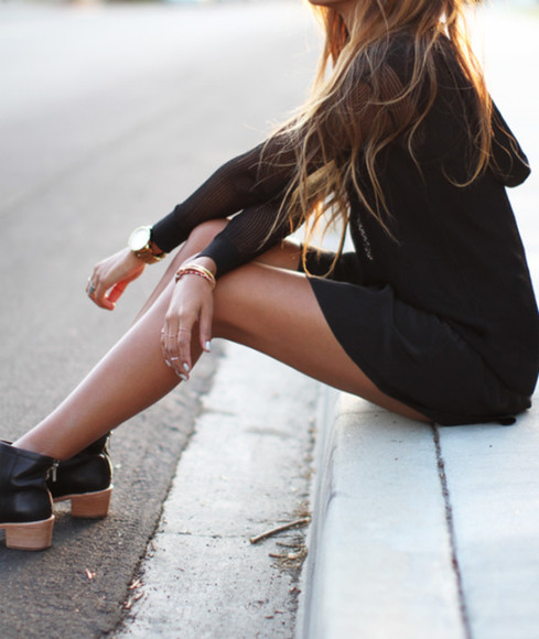 little black dress black boots sweater watch pullover