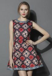 dress,chicwish,party dress,retro dress,beaded dress