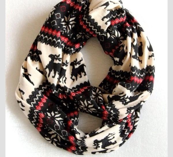 scarf pattern snood christmas sweater orange tribal pattern deer off-white christmas