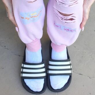 pants sweatpants ripped sweatpants dope pastel