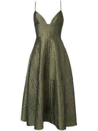 dress women silk green