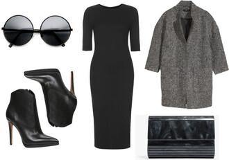 lana jayne blogger boyfriend coat black sunglasses pouch bodycon dress black heels outfit classy black boots black dress