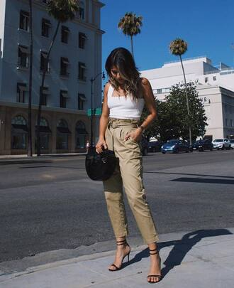pants tumblr cropped pants top white top bag black bag sandals sandal heels high heel sandals shoes