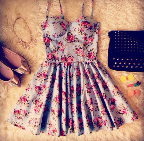 floral dress bag trending soft grunge accesories ring hair necklace earring