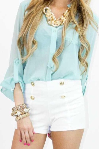 white white shorts high waisted shorts buttons blue shirt teal blouse summer outfits fall outfits clothes gold gold jewelry jewels necklace statement necklace fashion glam button up