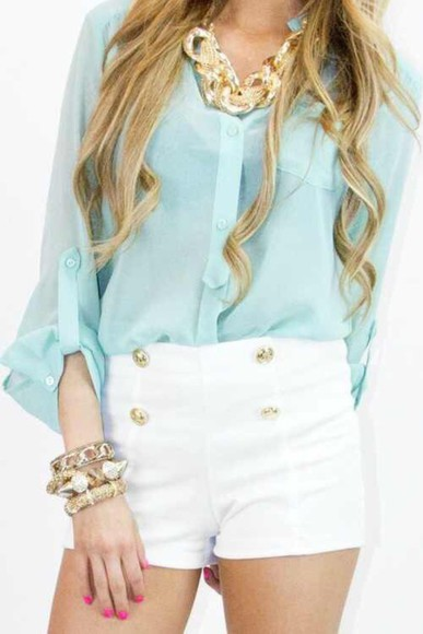 white summer outfits button up fall outfits clothes white shorts High waisted shorts buttons blue shirt teal blouse gold gold jewelry jewels necklace statement necklace fashion glam