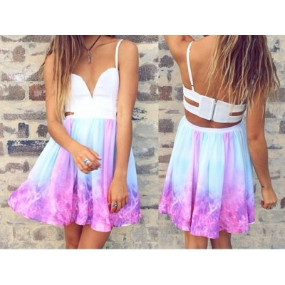 Buy Fashion Clothing -  Woman Low Neck Sleeveless Galaxy Print Dress
