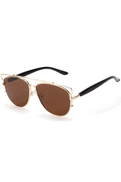 Brown Tinted Lenses Aviator Sunglasses