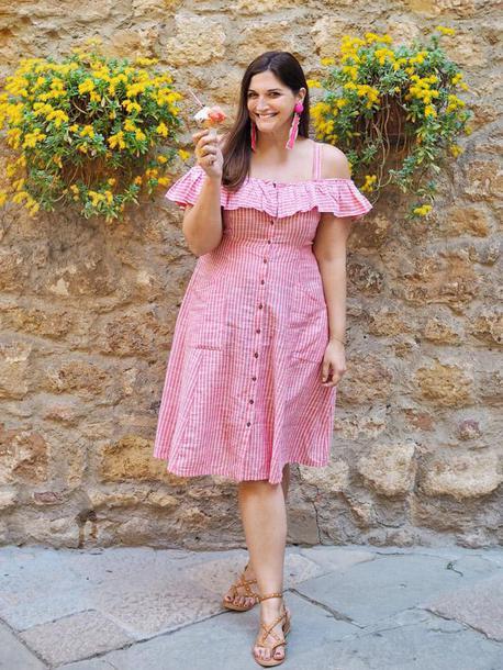 fashion foie gras blogger dress shoes ruffle dress striped dress sandals summer dress summer outfits