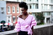 skinny hipster,blogger,jewels,pink top,ruffled top,black girls killin it,long sleeves