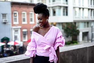 skinny hipster blogger jewels pink top ruffled top black girls killin it long sleeves