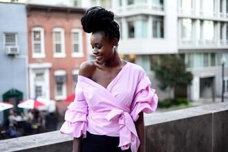 skinny hipster blogger jewels pink top ruffled top black girls killin it long sleeves