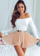 top,white,white top,cute,long sleeves,off the shoulder,skirt,skater skirt,mini skirt,high waisted skirt,outfit,outfit idea,summer outfits,cute outfits,spring outfits,date outfit,party outfits,polka dots,clubwear,fashion,style,stylish,summer top,cute top,waist belt