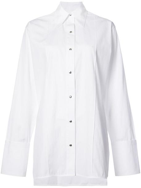 Helmut Lang - oversized poplin shirt - women - Cotton - L, White, Cotton