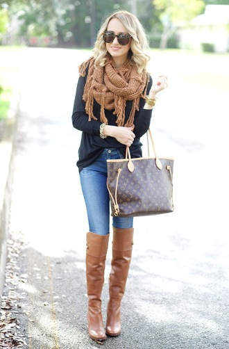 aspoonfulofstyle blogger top scarf jeans shoes bag louis vuitton bag fall outfits winter outfits boots knee high boots brown boots