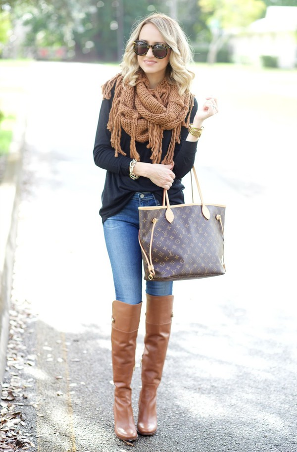 d9d4f60f1 aspoonfulofstyle blogger top scarf jeans shoes bag louis vuitton bag fall  outfits winter outfits boots knee.