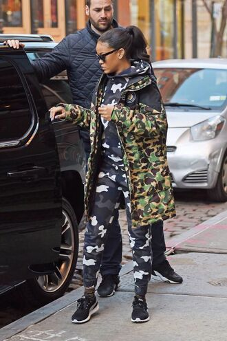 sweater rihanna camouflage grey white black jumpsuit