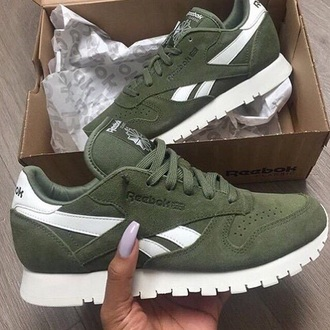 shoes reebok sneakers low top sneakers leather olive green green reebok runners instagram suede white love reebok classic khaki reebok suede sneakers khaki canopy green sneakers