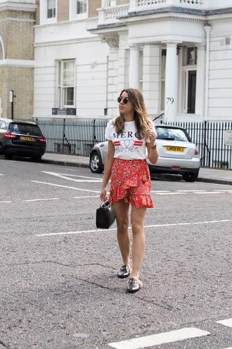 skirt floral skirt wrap skirt mini skirt ruffle skirt loafers fur loafers t-shirt blogger blogger style graphic tee handbag