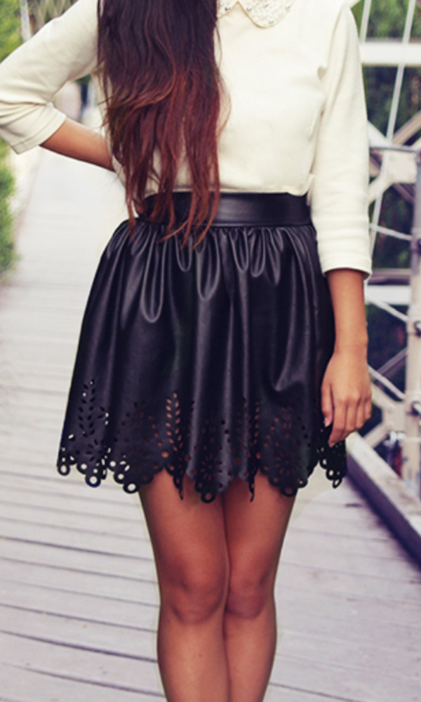 skirt black leather skirt