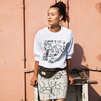 skirt ontheblock shirt obey pencil skirt stone crackle short skirt pattern streetwear ootd obey womens