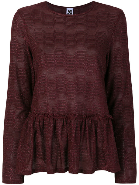 M Missoni top peplum top women cotton purple pink