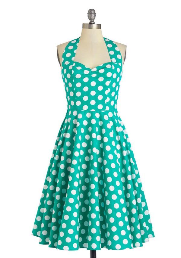 polka dot dress green dress vintage dress vintage prom dress eveing dresss polka dots 50s style