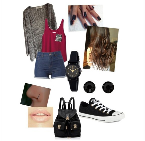jewels black nails cardigan grey burgundy cute shorts converse watch bag Belt