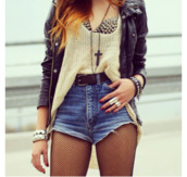 underwear,bra,instagram,sweater,jacket,leather jacket,black,jeans,high waisted,high waisted denim shorts,pullover,brass,top,cream,knit,light,beige,l.a. style,oversized sweater,beige sweater,shorts,clothes,studs,coat,spiked bra,cross,jewelry,belt,mesh,High waisted shorts,skirt,shirt,jewels,cardigan,blouse,fall outfits,t-shirt,spiked bustier,tank top,rock,grunge,romper,tights