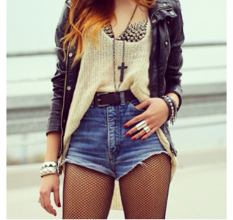 coat black bra spiked bra shorts jeans cross jewelry belt mesh high waisted shorts skirt shirt jewels underwear cardigan