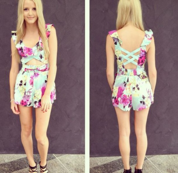 e4a3dd63ee8 dress girly cute one piece jumpsuit floral beautiful casual