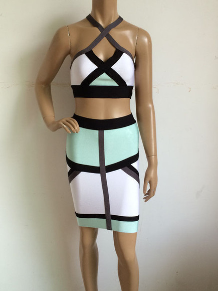 two-piece two piece bandage dress two piece body con two piece bodycon two piece bandage dress set