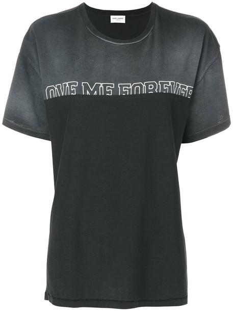 Saint Laurent - contrast panel T-shirt - women - Cotton - XS, Grey, Cotton