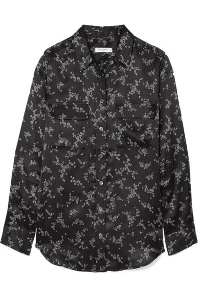 Equipment shirt black silk satin top