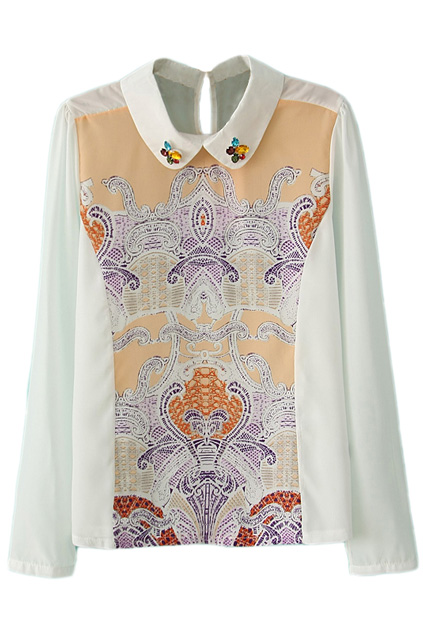 ROMWE | Retro Totem Print Diamante White Blouse, The Latest Street Fashion