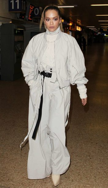 pants rita ora wide-leg pants grey turtleneck jacket bomber jacket