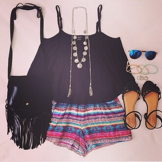 shorts tribal shorts tribal pattern high waisted shorts tribal print shorts shirt shoes bag jewels