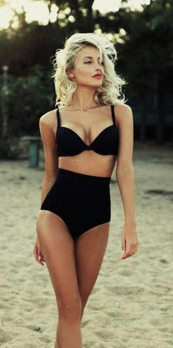 high waisted bikini retro bikini black bikini swimwear